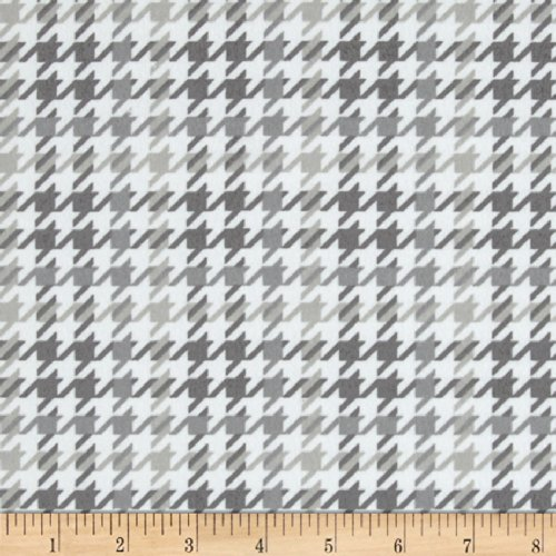 Robert Kaufman Cozy Cotton Flannel Houndstooth Grey Fabric by The Yard,