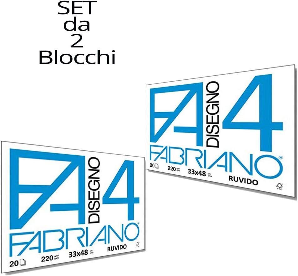 24/x 33/cm Fabriano F4/Rugueux Album de Dessin Set de 2/Blocs