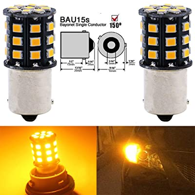 AMAZENAR 2-Pack 1056 BAU15S 7507 12496 Car Turn Signal Lights Bulbs - 12V-24V Extremely Bright Amber/Yellow 2835 33 SMD LED Light Bulb - Replacement for Tail Blinker LED Bulb Light: Automotive