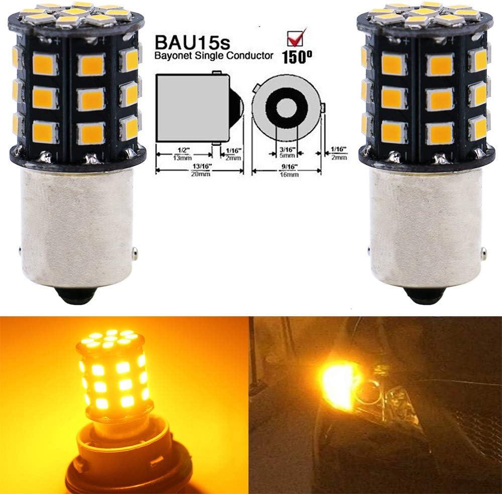 Paquete de 2 1056 BAU15S 7507 12496 RY10W Bombillas de Luces Intermitentes para Automóvil - 12V-24V ámbar/Amarillo Bombillo de luz LED 2835 33 SMD - Reemplazo de luz Intermitente para Luces Traseras