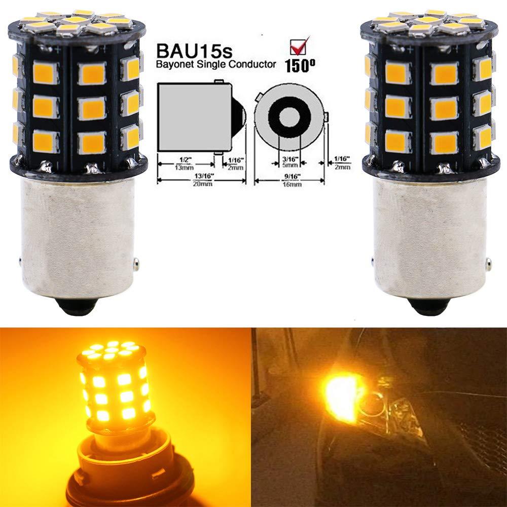 Replacement for Tail Blinker LED Bulb Light 12V-24V Extremely Bright Amber//Yellow 2835 33 SMD LED Light Bulb AMAZENAR 2-Pack 1056 7507 12496 Car Turn Signal Lights Bulbs