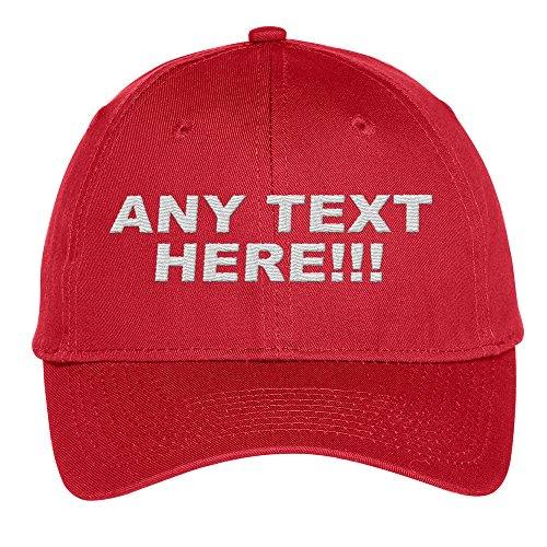 (Design Your Own Hat, Personalized Text, Custom Ball Cap, Embroidered with Color Choices (Red))