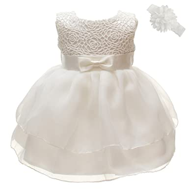 95573a3a4 Coozy Toddler Baby Girl Dress Princess Christening Baptism Gowns Pageant  Bow Formal Dresses (Ivory,