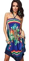 Honeystore Women's Boho Sunflower Print Summer Hawaiian Beach Casual Dress