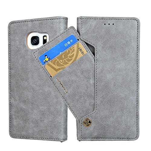 Samsung S8 Plus Card Holder Case,YiMiky Premium PU Leather Lightweight Dual Layer Design Retro Vintage Fashion Slim Smart Stand Protective Case with Card Slot for Samsung S8 Plus 6.1 inches(Gray) by YiMiky