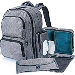 Large Capacity Diaper Bag Backpack- with YKK Zippers, Two Packing Cubes, Wet/Dry Bag, Wet Wipes Case, Changing Pad and Stroller Straps by Bably Baby- Stylish Unisex Design