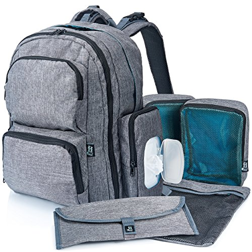 Large Capacity Diaper Bag Backpack with YKK Zippers, Two Packing Cubes, Wet/Dry Bag, Wet Wipes Case, Changing Pad and Stroller Straps by Bably Baby- Stylish Unisex Design (Cube Twin)
