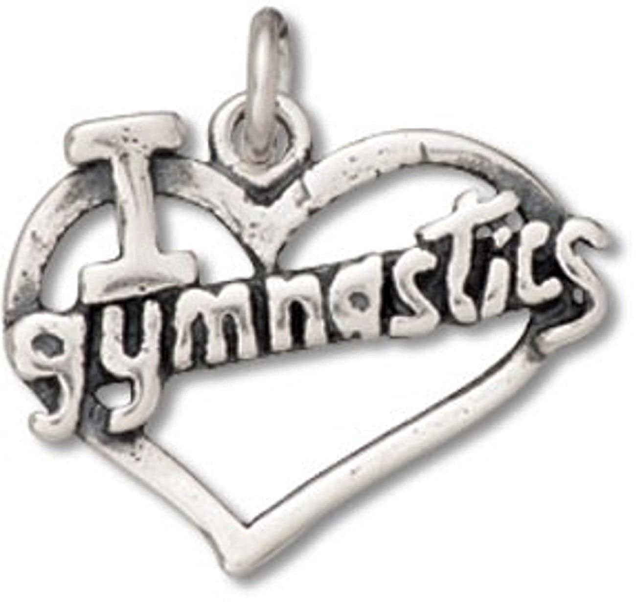 Sterling Silver 7 4.5mm Charm Bracelet With Attached I Heart Love Gymnastics Sports Word Charm