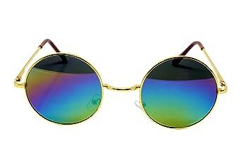 b833949b62 Beautiful Unisex Latest Design Hippie Style Goggles Round Sunglasses  Anti-Reflective Lens (Rainbow Mirror