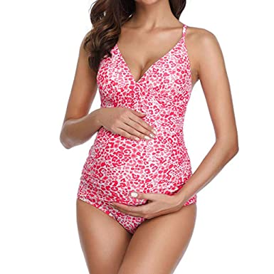 2d8d8fa0848 BYTWO Women Maternity Swimsuit Sxey V Neck Sling Leopard Print Pregnant  Bikini Swimwea One Piece Beach Bathing Suit at Amazon Women's Clothing store :