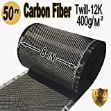 50 FT x 8'' - CARBON FIBER FABRIC-2x2 TWILL WEAVE-12K/400g