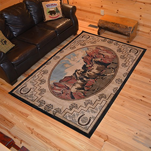 Rustic Lodge Western Horse 5x8 Brown Area Rug, 5'3