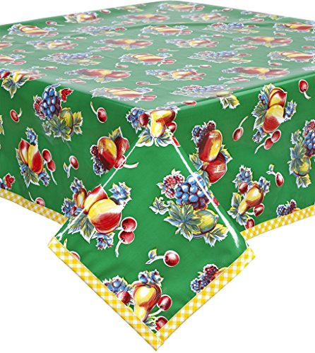 Retro Oilcloth - Retro Green with Yellow Gingham Trim Oilcloth Tablecloth You pick the Size