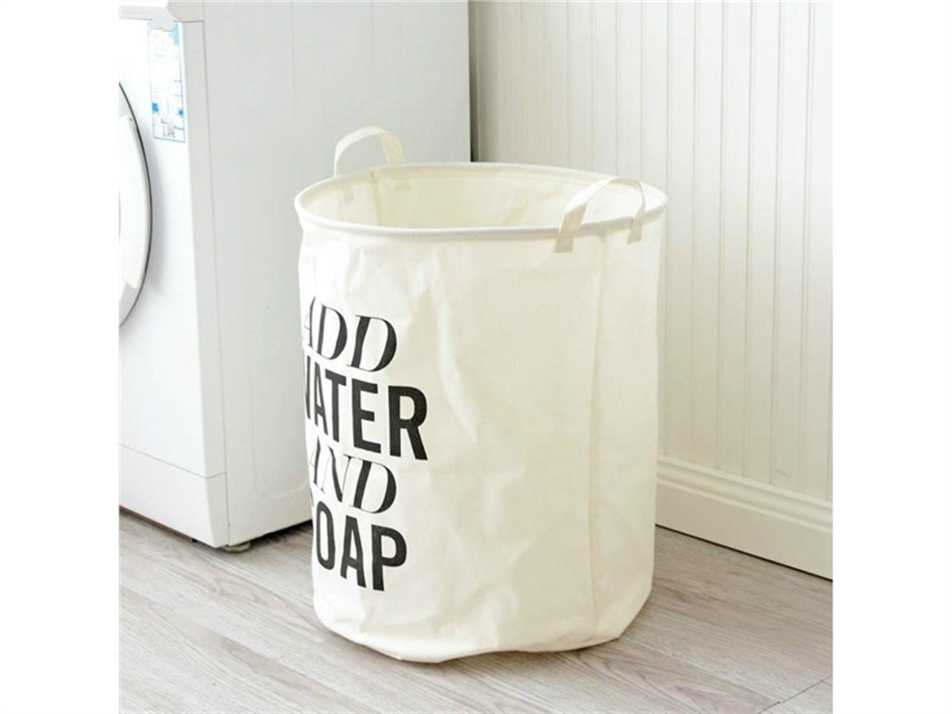 Gelaiken Lightweight English Alphabet Pattern Storage Bag Cotton and Linen Box Sundries Storage Bucket(White)