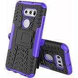 LG V30+ L-01K / JOJO L-02K / isai V30+ LGV35 ケース LG V35 ケース LG V30+ カバー ソフトバンクソニー【Cavor】tpu+pcアーマーハイブリッド三重構造バックホルスターに耐震性のバンパーケーススタンド機能携帯カバー【選択可能な8色】パープル