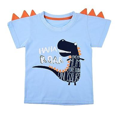 d7b3d30d09525 Tkria Garçons Enfants T-Shirt Sans Manches Tops Col Rond Dinosaure  Tyrannosaurus Rex Cartoon Sweat