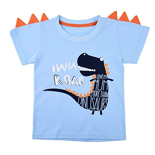 df25f3fcf Amazon.com  Little Boy Shirt Dinosaur Printed Toddler T-Shirts Short ...
