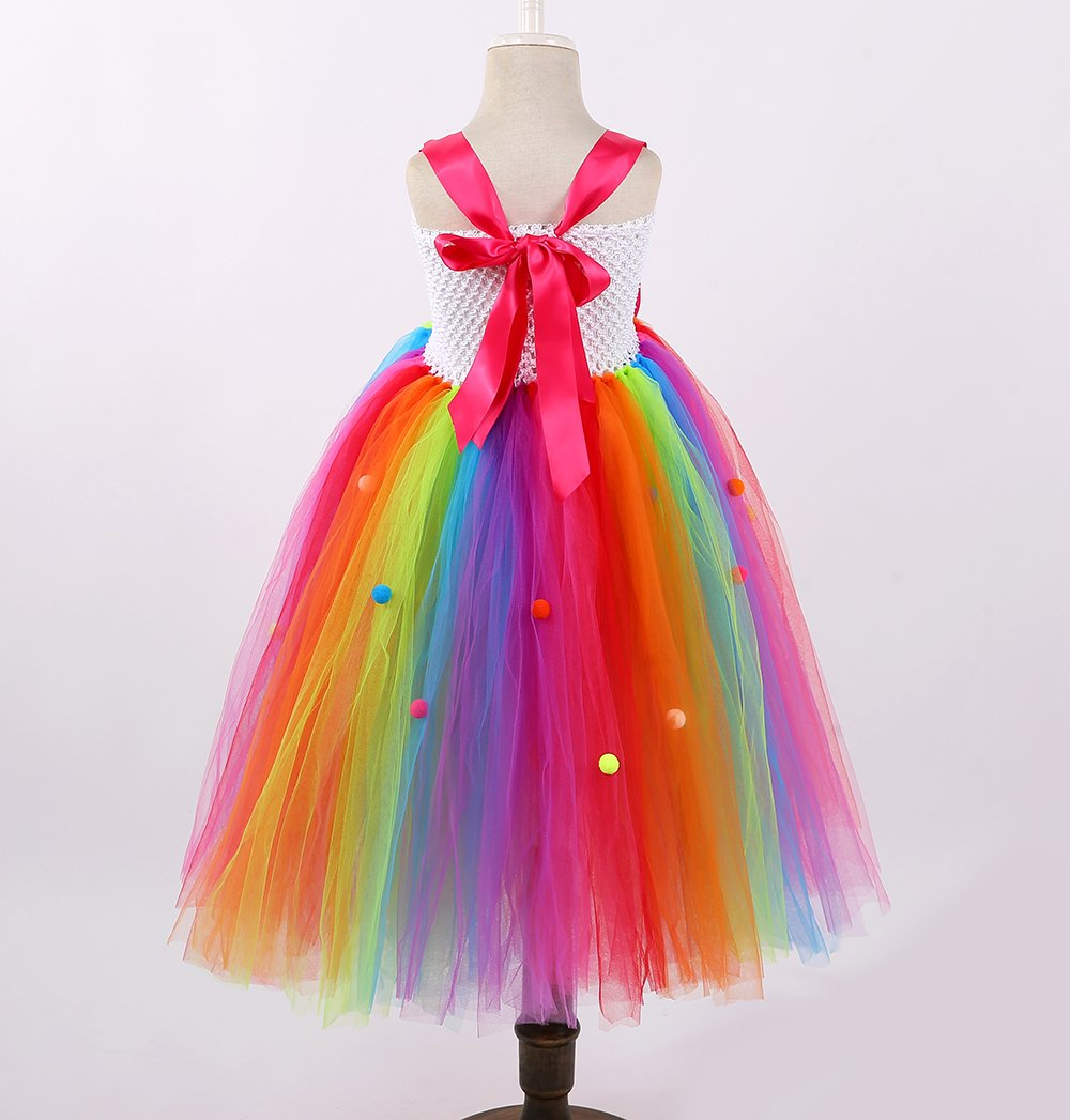 Tutu Dreams Rainbow Lollipop Candy Tutu Dress Kids Girls Birthday Party Ringmaster Circus Clown Costumes Halloween (Rainbow, 8) by Tutu Dreams (Image #3)