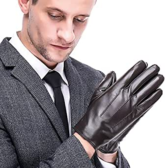 Leather Gloves, Men's Touchscreen Texting Winter Warm
