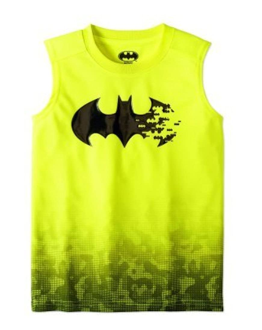 Fashion Boys Batman Acid Yellow Muscle Tank (X-Small 4/5)