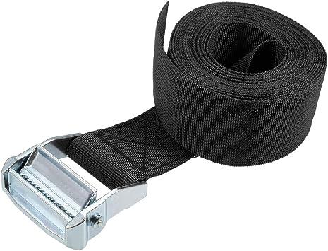 Black 2Pcs uxcell 4M x 5cm Lashing Strap Cargo Tie Down Straps w Cam Lock Buckle 500Kg Work Load