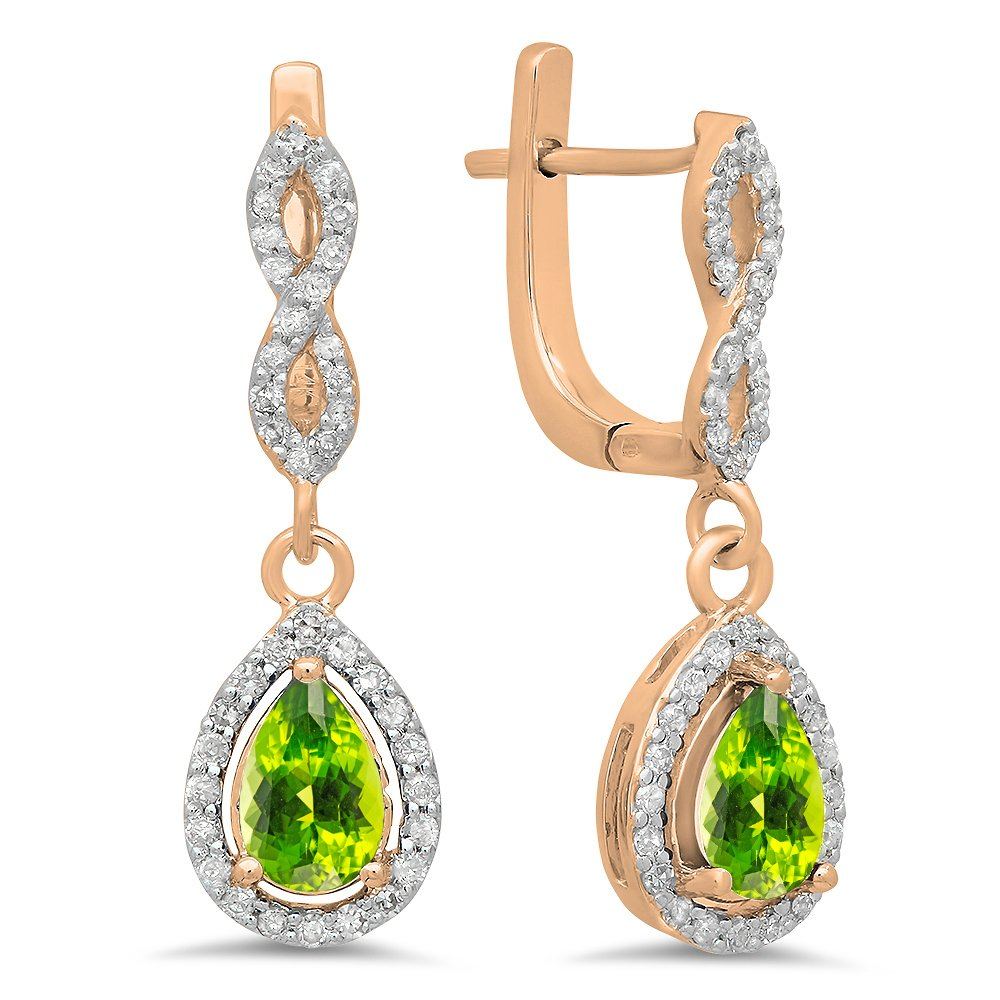 14K Rose Gold Pear Cut Peridot & Round Cut White Diamond Ladies Halo Style Dangling Drop Earrings by DazzlingRock Collection