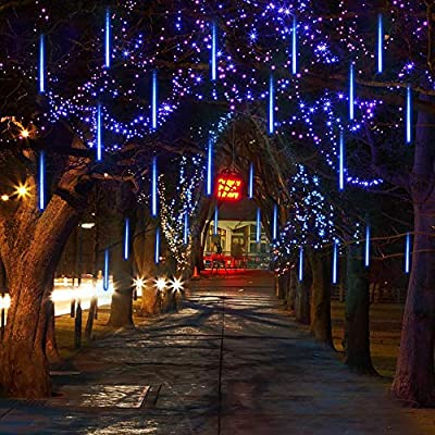 Jhua Meteor Shower Lights, Solar Powered LED Falling Raindrop Lights Waterproof Icicle Lights 30cm 8 Tube 144 LEDs String Light Outdoor for Christmas Garden Decoration, Holiday Party Wedding, Blue