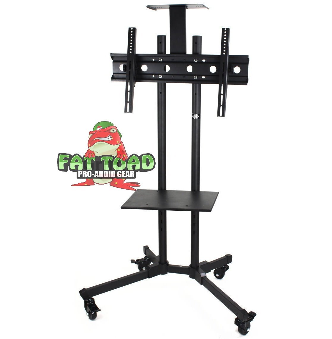 LCD TV Cart by Fat Toad | Rolling Flat Panel Screen Stand with DVD Player Shelf|Deluxe Mobile Plasma Television/Monitor Console Mount on Wheels & 2 Storage Shelves|Suitable for AV, Home, or Business