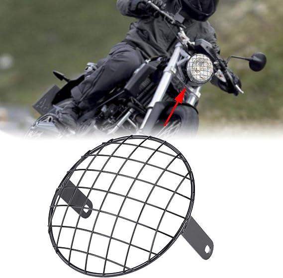 Ebtools Motorrad Scheinwerfer Gitter 7 Zoll Motorrad Scheinwerfer Mesh Grill Side Mount Für Cruiser Chopper Old School Cafe Racer Auto