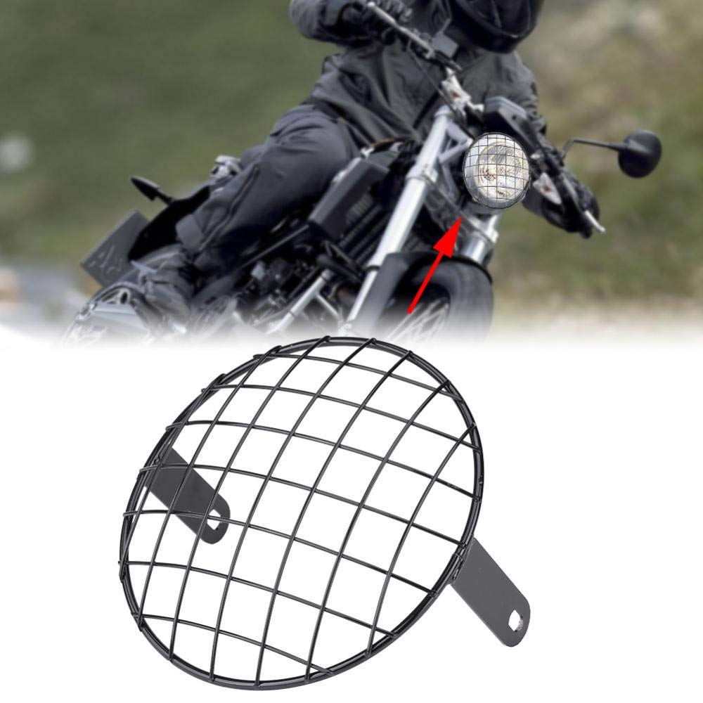 Black Acouto 7 Motorcycle Headlight Mesh Grill Side Mount Universal Cover Lamp Mask Protector for Cafe Racer