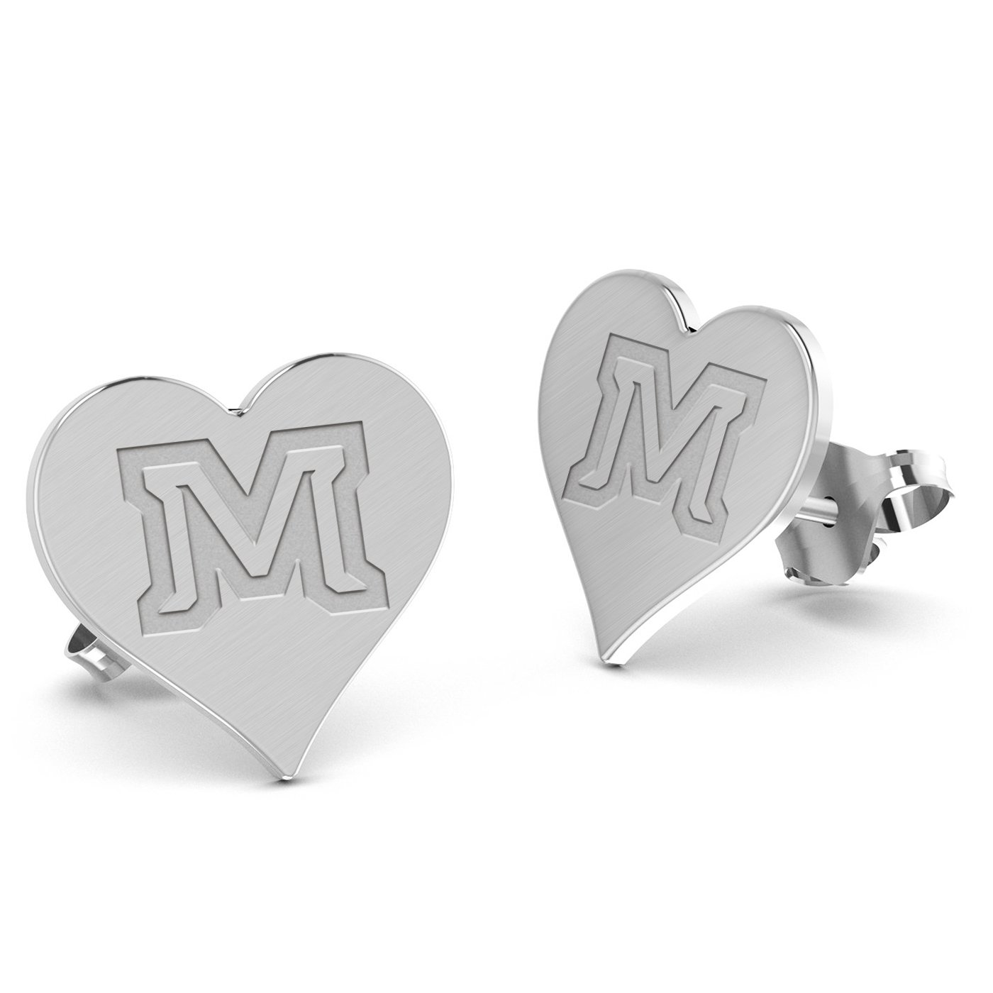 Montana State University Bobcats Heart Stud Earring See Image on Model for Size Reference