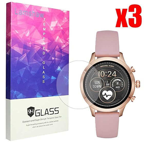 80dca713497c Amazon.com: Lamshaw for Michael Kors Runway Screen Protector, 9H Tempered  Glass Screen Protector for Michael Kors Access Runway Smartwatch (3 Pack):  Cell ...