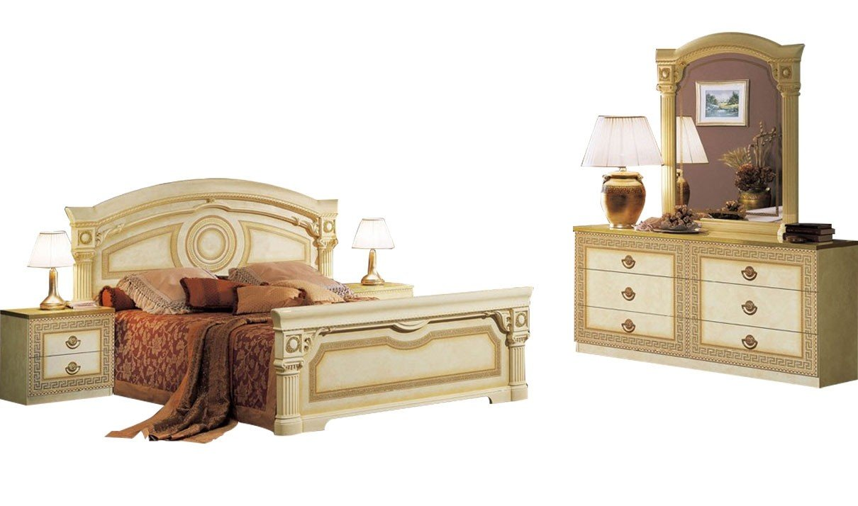 Attrayant Amazon.com: ESF Trading Aida Ivory Finish Traditional Bedroom Set: Kitchen  U0026 Dining
