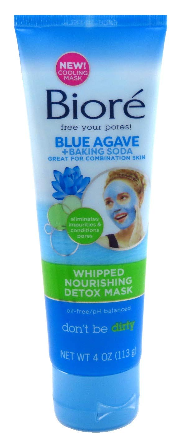 Biore Blue Agave & Baking Soda Whipped Detox Mask 4 Ounce Tube (118ml) (2 Pack)