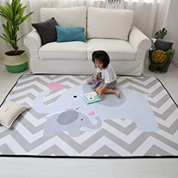 Stylish Extra Large Baby Play Mat Soft Playmat Grey Rug Foam Play Mat Kid Floor Mats Baby Crawling Mats Climbing Pad Nursery Rug Carpet Elephant 59 by 79 Inches