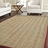 Safavieh NF115D-8 Natural Fiber Collection Herringbone Red Seagrass Area Rug, 8' x 10'