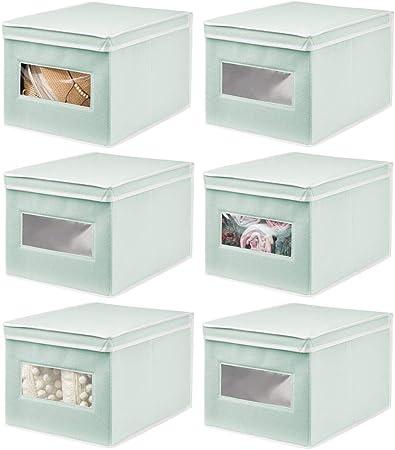 mDesign Juego de 6 Cajas de Tela – Práctico Organizador de armarios con Tapa para Dormitorio, salón o baño – Caja de almacenaje apilable de Fibra sintética Transpirable – Verde Menta/Blanco: Amazon.es: Hogar
