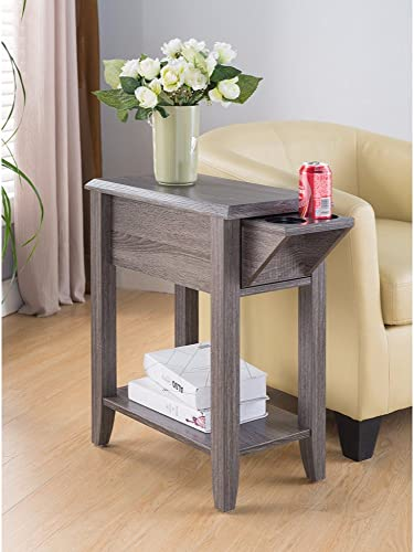 Elegant Beveled Edge Chairside Table, Gray