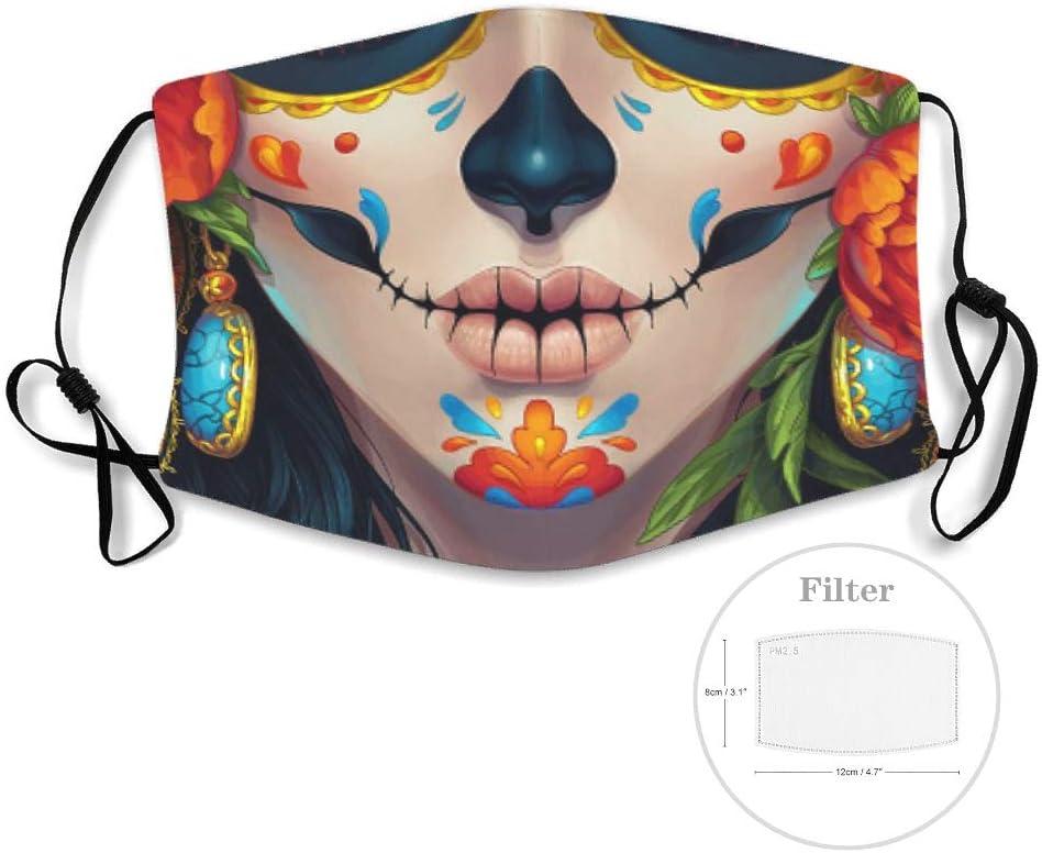 Máscara facial con filtro de KittyliNO5, cráneo de azúcar reutilizable, máscara antipolvo con correa ajustable para Halloween, cosplay, blanco, with 15 filters