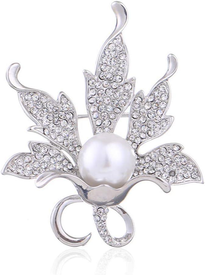 Broches Diamantes de imitación con Micro Incrustaciones de Moda Collar de Broche de Perlas Grandes Aguja Aguja Chal Hebilla Broche de joyería Mujer