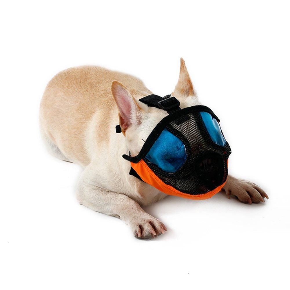 orange S orange S NACOCO Dog Muzzle Pet Mouth Mask Anti Barking and Biting Mesh Muzzles for Short Snout Dog (S, orange)