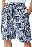 Ks Island Men's Big & Tall Printed Cargo Swim Shorts, Orange Batik Big-3Xl