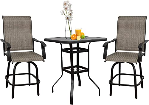 June Win 3 Pieces Outdoor Furniture,Patio Table and Chairs,Bar Stools Set of 3,Swivel Outdoor Chair