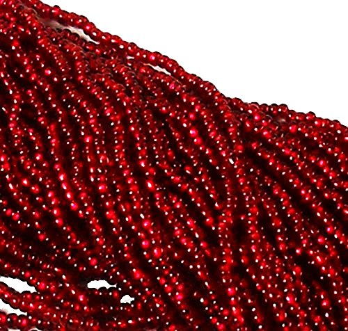 11 Silver Lined Seed Beads - Czech 11/0 Traditional Glass Seed Beads 6 String Hank 100 Colors U-Pick Silver Lined Ruby)