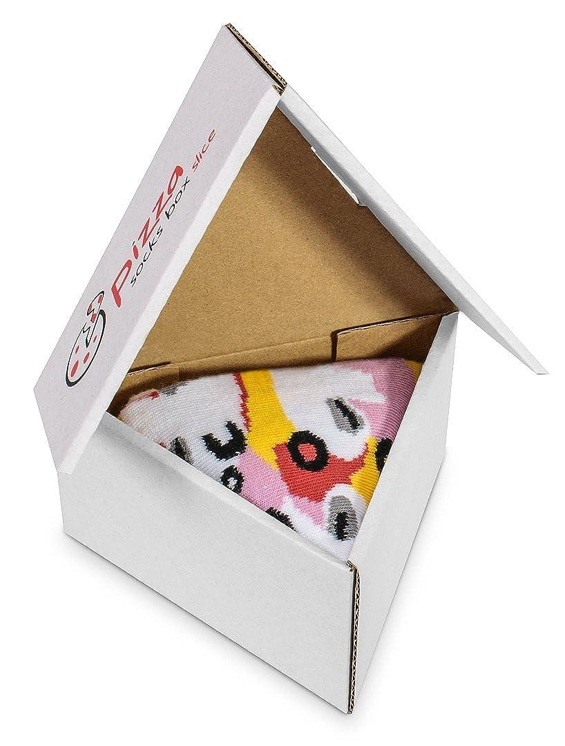 Pizza Socks Box SLICE - 1 paar Capricciosa Pizza LUSTIGE Socken - Ideal als Originelle GESCHENK - Bunt, BAUMWOLLE Reich - Fun Gadget  für Frauen und Männer, Größen EU 36-40, 41-46, Made in EUROPE Größen EU 36-40