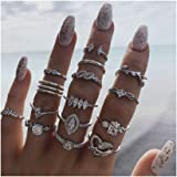 Edary Boho Heart Rings Rhinestone Rings Set Silver Leaf Joint Knuckle Rings Crystal Jewelry Accessories for Women and Girls.(15PCS)