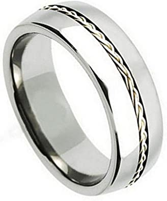 Size 7 to 14 Double Accent 9MM Comfort Fit Titanium Wedding Band Grooved Dome Ring