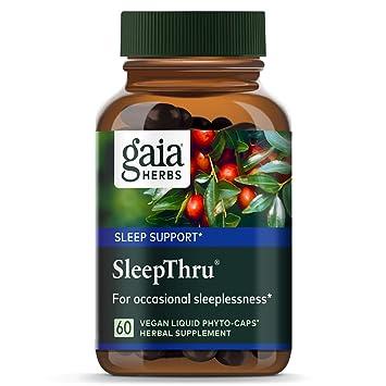 Gaia Herbs SleepThru, Vegan Liquid Capsules, 60 Count - Non-Habit Forming Herbal