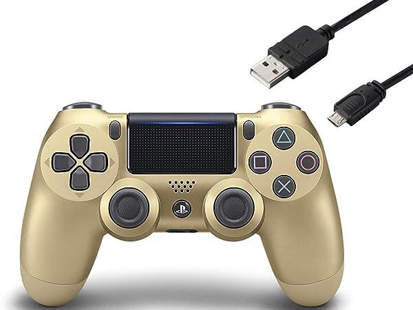 【純正品】ワイヤレスコントローラー (DUALSHOCK 4) ゴールド (CUH-ZCT2J14) 【Amazon.co.jp特典】CYBER PS4用コントローラー充電ケーブル3m
