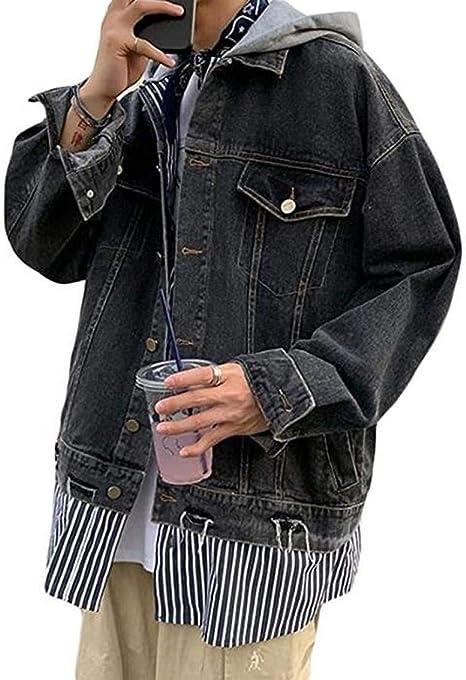 [ウンセン]デニムジャケット メンズ ゆったり ジージャン ダメージ加工 デニム アウター ストライプ柄 おしゃれ ストリート系 春